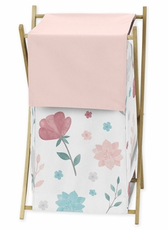 Floral Rose Flowers Baby Kid Clothes Laundry Hamper by Sweet Jojo Designs - Blush Pink Teal Turquoise Aqua Blue Grey Pop Flower Boho Shabby Chic Modern Colorful Watercolor Wildflower Roses Leaf Daisy Tulip