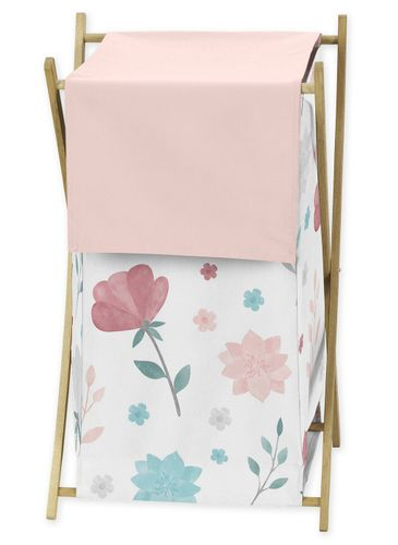 Floral Rose Flowers Baby Kid Clothes Laundry Hamper by Sweet Jojo Designs - Blush Pink Teal Turquoise Aqua Blue Grey Pop Flower Boho Shabby Chic Modern Colorful Watercolor Wildflower Roses Leaf Daisy Tulip - Click to enlarge