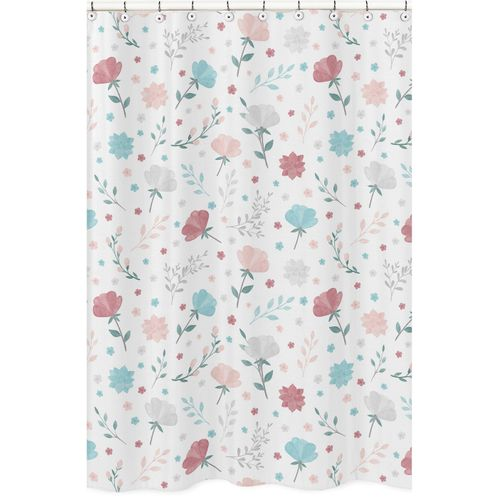 Floral Rose Flowers Bathroom Fabric Bath Shower Curtain by Sweet Jojo Designs - Blush Pink Teal Turquoise Aqua Blue Grey Pop Flower Boho Shabby Chic Modern Colorful Watercolor Wildflower Roses Leaf Daisy Tulip - Click to enlarge