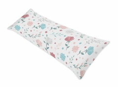Floral Rose Flowers Body Pillow Case Cover by Sweet Jojo Designs (Pillow Not Included) - Blush Pink Teal Turquoise Aqua Blue Grey Pop Flower Boho Shabby Chic Modern Colorful Watercolor Wildflower Roses Leaf Daisy Tulip