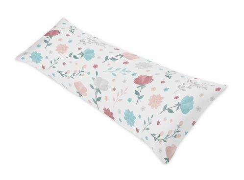 Floral Rose Flowers Body Pillow Case Cover by Sweet Jojo Designs (Pillow Not Included) - Blush Pink Teal Turquoise Aqua Blue Grey Pop Flower Boho Shabby Chic Modern Colorful Watercolor Wildflower Roses Leaf Daisy Tulip - Click to enlarge