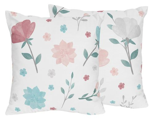 Floral Rose Flowers Decorative Accent Throw Pillows by Sweet Jojo Designs - Set of 2 - Blush Pink Teal Turquoise Aqua Blue Grey Pop Flower Boho Shabby Chic Modern Colorful Watercolor Wildflower Roses Leaf Daisy Tulip - Click to enlarge