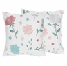 Floral Rose Flowers Decorative Accent Throw Pillows by Sweet Jojo Designs - Set of 2 - Blush Pink Teal Turquoise Aqua Blue Grey Pop Flower Boho Shabby Chic Modern Colorful Watercolor Wildflower Roses Leaf Daisy Tulip