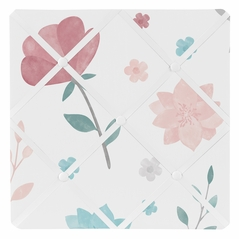 Floral Rose Flowers Fabric Memory Memo Photo Bulletin Board by Sweet Jojo Designs - Blush Pink Teal Turquoise Aqua Blue Grey Pop Flower Boho Shabby Chic Modern Colorful Watercolor Wildflower Roses Leaf Daisy Tulip