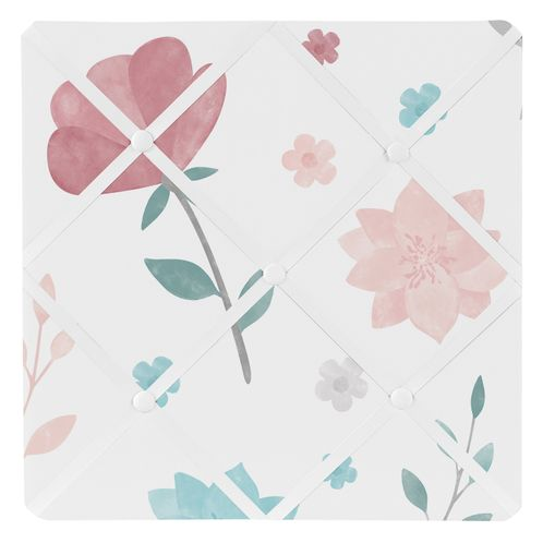 Floral Rose Flowers Fabric Memory Memo Photo Bulletin Board by Sweet Jojo Designs - Blush Pink Teal Turquoise Aqua Blue Grey Pop Flower Boho Shabby Chic Modern Colorful Watercolor Wildflower Roses Leaf Daisy Tulip - Click to enlarge