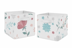 Floral Rose Flowers Foldable Fabric Storage Cube Bins Boxes Organizer Toys Kids Baby Childrens by Sweet Jojo Designs - Set of 2 - Blush Pink Teal Turquoise Aqua Blue Grey Pop Flower Boho Shabby Chic Modern Colorful Watercolor Wildflower Roses Leaf Daisy Tulip