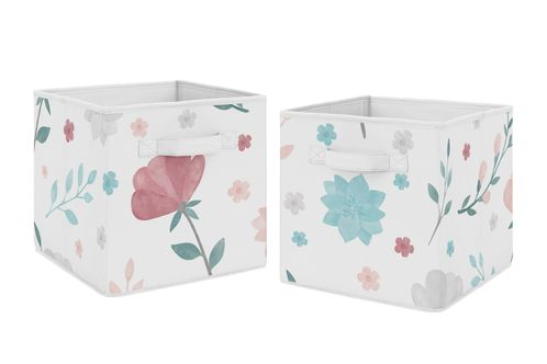 Floral Rose Flowers Foldable Fabric Storage Cube Bins Boxes Organizer Toys Kids Baby Childrens by Sweet Jojo Designs - Set of 2 - Blush Pink Teal Turquoise Aqua Blue Grey Pop Flower Boho Shabby Chic Modern Colorful Watercolor Wildflower Roses Leaf Daisy Tulip - Click to enlarge