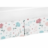 Floral Rose Flowers Girl Baby Nursery Crib Bed Skirt Dust Ruffle by Sweet Jojo Designs - Blush Pink Teal Turquoise Aqua Blue Grey Pop Flower Boho Shabby Chic Modern Colorful Watercolor Wildflower Roses Leaf Daisy Tulip
