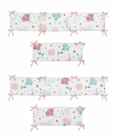 Floral Rose Flowers Girl Baby Nursery Crib Bumper Pad by Sweet Jojo Designs - Blush Pink Teal Turquoise Aqua Blue Grey Pop Flower Boho Shabby Chic Modern Colorful Watercolor Wildflower Roses Leaf Daisy Tulip