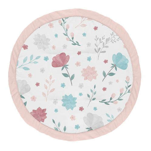 Floral Rose Flowers Girl Baby Playmat Tummy Time Infant Play Mat by Sweet Jojo Designs - Blush Pink Teal Turquoise Aqua Blue Grey Pop Flower Boho Shabby Chic Modern Colorful Watercolor Wildflower Roses Leaf Daisy Tulip - Click to enlarge