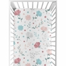 Floral Rose Flowers Girl Fitted Crib Sheet Baby or Toddler Bed Nursery by Sweet Jojo Designs - Blush Pink Teal Turquoise Aqua Blue Grey Pop Flower Boho Shabby Chic Modern Colorful Watercolor Wildflower Roses Leaf Daisy Tulip