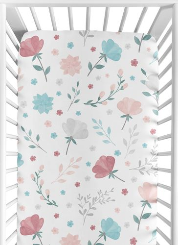 Floral Rose Flowers Girl Fitted Crib Sheet Baby or Toddler Bed Nursery by Sweet Jojo Designs - Blush Pink Teal Turquoise Aqua Blue Grey Pop Flower Boho Shabby Chic Modern Colorful Watercolor Wildflower Roses Leaf Daisy Tulip - Click to enlarge