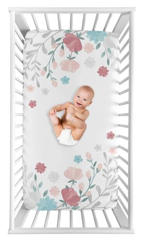 Floral Rose Flowers Girl Fitted Crib Sheet Baby or Toddler Bed Nursery Photo Op by Sweet Jojo Designs - Blush Pink Teal Turquoise Aqua Blue Grey Pop Flower Boho Shabby Chic Modern Colorful Watercolor Wildflower Roses Leaf Daisy Tulip - Click to enlarge