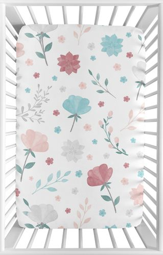 Floral Rose Flowers Girl Fitted Mini Crib Sheet Baby Nursery by Sweet Jojo Designs For Portable Crib or Pack and Play - Blush Pink Teal Turquoise Aqua Blue Grey Pop Flower Boho Shabby Chic Modern Colorful Watercolor Wildflower Roses Leaf Daisy Tulip - Click to enlarge