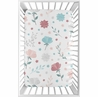Floral Rose Flowers Girl Fitted Mini Crib Sheet Baby Nursery by Sweet Jojo Designs For Portable Crib or Pack and Play - Blush Pink Teal Turquoise Aqua Blue Grey Pop Flower Boho Shabby Chic Modern Colorful Watercolor Wildflower Roses Leaf Daisy Tulip