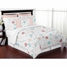 Floral Rose Flowers Girl Full / Queen Bedding Comforter Set Kids Childrens Size by Sweet Jojo Designs - 3 pieces - Blush Pink Teal Turquoise Aqua Blue Grey Pop Flower Boho Shabby Chic Modern Colorful Watercolor Wildflower Roses Leaf Daisy Tulip
