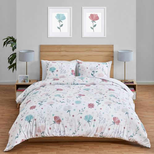 Floral Rose Flowers Girl Full / Queen Bedding Comforter Set Kids Childrens Size by Sweet Jojo Designs - 3 pieces - Blush Pink Teal Turquoise Aqua Blue Grey Pop Flower Boho Shabby Chic Modern Colorful Watercolor Wildflower Roses Leaf Daisy Tulip - Click to enlarge