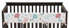 Floral Rose Flowers Girl Long Front Crib Rail Guard Baby Teething Cover Protector Wrap by Sweet Jojo Designs - Blush Pink Teal Turquoise Aqua Blue Grey Pop Flower Boho Shabby Chic Modern Colorful Watercolor Wildflower Roses Leaf Daisy Tulip Polka Dot