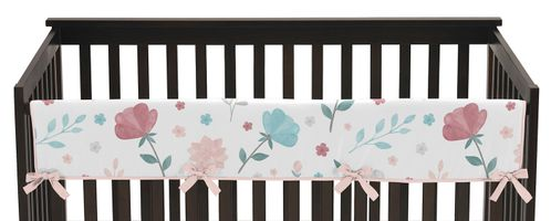 Floral Rose Flowers Girl Long Front Crib Rail Guard Baby Teething Cover Protector Wrap by Sweet Jojo Designs - Blush Pink Teal Turquoise Aqua Blue Grey Pop Flower Boho Shabby Chic Modern Colorful Watercolor Wildflower Roses Leaf Daisy Tulip Polka Dot - Click to enlarge