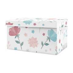 Floral Rose Flowers Girl Small Fabric Toy Bin Storage Box Chest For Baby Nursery or Kids Room by Sweet Jojo Designs - Blush Pink Teal Turquoise Aqua Blue Grey Pop Flower Boho Shabby Chic Modern Colorful Watercolor Wildflower Roses Leaf Daisy Tulip