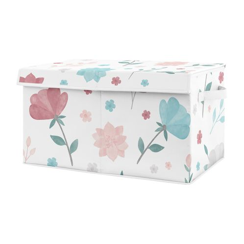 Floral Rose Flowers Girl Small Fabric Toy Bin Storage Box Chest For Baby Nursery or Kids Room by Sweet Jojo Designs - Blush Pink Teal Turquoise Aqua Blue Grey Pop Flower Boho Shabby Chic Modern Colorful Watercolor Wildflower Roses Leaf Daisy Tulip - Click to enlarge