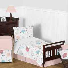 Floral Rose Flowers Girl Toddler Bedding Kid Childrens Comforter Set by Sweet Jojo Designs - 5 pieces Comforter, Sham and Sheets - Blush Pink Teal Turquoise Aqua Blue Grey Pop Flower Boho Shabby Chic Modern Colorful Watercolor Wildflower Roses Leaf Daisy Tulip