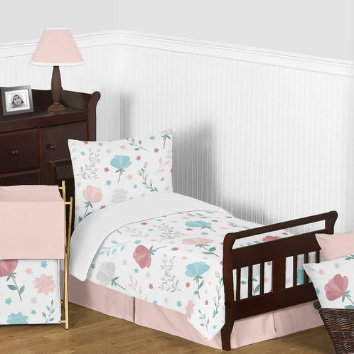Floral Rose Flowers Girl Toddler Bedding Kid Childrens Comforter Set by Sweet Jojo Designs - 5 pieces Comforter, Sham and Sheets - Blush Pink Teal Turquoise Aqua Blue Grey Pop Flower Boho Shabby Chic Modern Colorful Watercolor Wildflower Roses Leaf Daisy Tulip - Click to enlarge