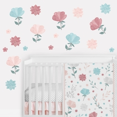 Floral Rose Flowers Large Peel and Stick Wall Decal Stickers Art Nursery Decor Mural by Sweet Jojo Designs - Set of 4 Sheets - Blush Pink Teal Turquoise Aqua Blue Grey Pop Flower Boho Shabby Chic Modern Colorful Watercolor Wildflower Rose Lotus Leaf Daisy Tulip