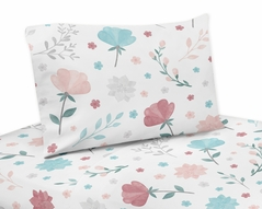 Floral Rose Flowers Twin Sheet Set by Sweet Jojo Designs - 3 piece set - Blush Pink Teal Turquoise Aqua Blue Grey Pop Flower Boho Shabby Chic Modern Colorful Watercolor Wildflower Roses Leaf Daisy Tulip