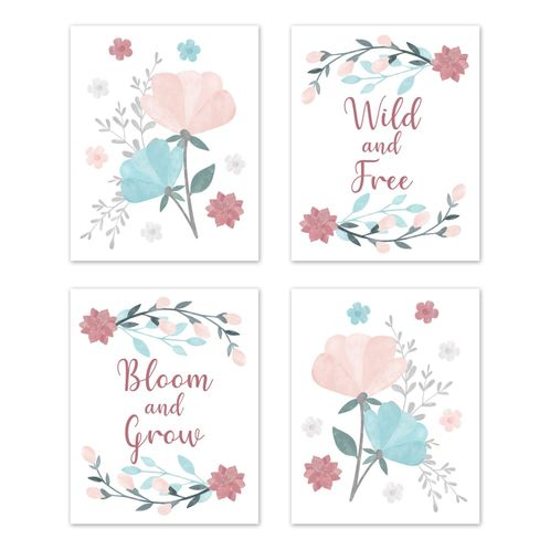 Floral Rose Flowers Wall Art Prints Room Decor for Baby, Nursery, and Kids by Sweet Jojo Designs - Set of 4 - Blush Pink Teal Turquoise Aqua Blue Grey Pop Flower Boho Shabby Chic Modern Colorful Watercolor Wildflower Roses Leaf Daisy Tulip - Click to enlarge