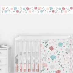 Floral Rose Flowers Wallpaper Wall Border Mural by Sweet Jojo Designs - Blush Pink Teal Turquoise Aqua Blue Grey Pop Flower Boho Shabby Chic Modern Colorful Watercolor Wildflower Rose Lotus Leaf Daisy Tulip