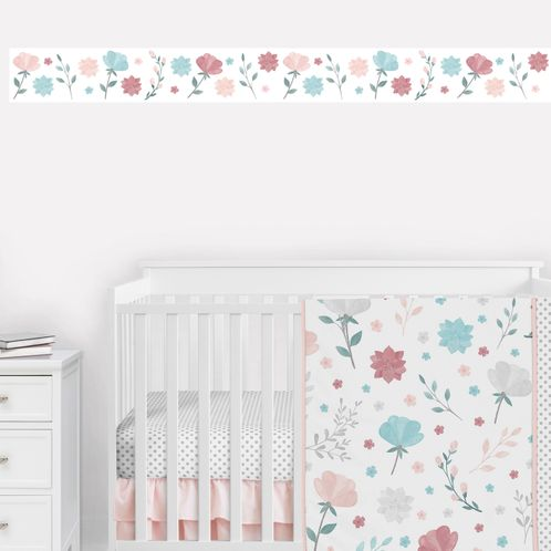 Floral Rose Flowers Wallpaper Wall Border Mural by Sweet Jojo Designs - Blush Pink Teal Turquoise Aqua Blue Grey Pop Flower Boho Shabby Chic Modern Colorful Watercolor Wildflower Rose Lotus Leaf Daisy Tulip - Click to enlarge