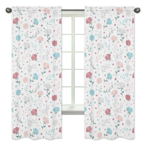 Floral Rose Flowers Window Treatment Panels Curtains by Sweet Jojo Designs - Set of 2 - Blush Pink Teal Turquoise Aqua Blue Grey Pop Flower Boho Shabby Chic Modern Colorful Watercolor Wildflower Roses Leaf Daisy Tulip - Click to enlarge