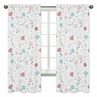 Floral Rose Flowers Window Treatment Panels Curtains by Sweet Jojo Designs - Set of 2 - Blush Pink Teal Turquoise Aqua Blue Grey Pop Flower Boho Shabby Chic Modern Colorful Watercolor Wildflower Roses Leaf Daisy Tulip