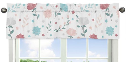 Floral Rose Flowers Window Treatment Valance by Sweet Jojo Designs - Blush Pink Teal Turquoise Aqua Blue Grey Pop Flower Boho Shabby Chic Modern Colorful Watercolor Wildflower Roses Leaf Daisy Tulip - Click to enlarge