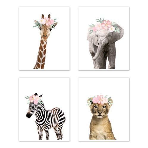 Floral Safari Jungle Animal Wall Art Prints Room Decor for Baby, Nursery, and Kids by Sweet Jojo Designs - Set of 4 - Elephant Giraffe Lion Zebra Blush Pink Shabby Chic Watercolor Rose Flower - Click to enlarge