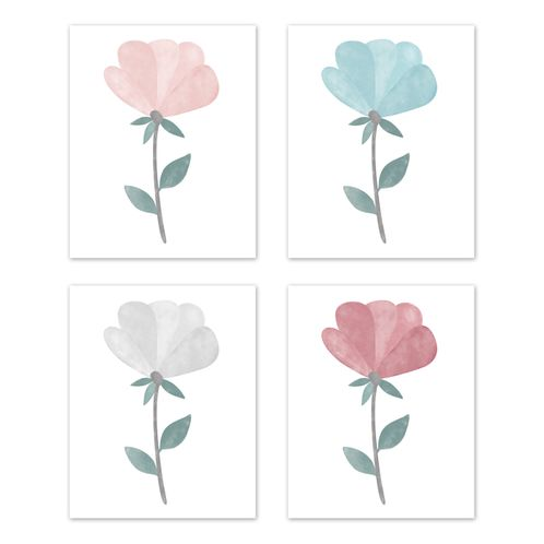 Floral Tulip Flowers Wall Art Prints Room Decor for Baby, Nursery, and Kids by Sweet Jojo Designs - Set of 4 - Blush Pink Teal Turquoise Aqua Blue Grey Pop Boho Shabby Chic Modern Colorful Watercolor Wildflower Leaf Rose Single Flower - Click to enlarge