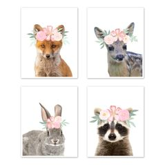Floral Woodland Forest Animal Wall Art Prints Room Decor for Baby, Nursery, and Kids by Sweet Jojo Designs - Set of 4 - Fox Deer Bunny Raccoon Blush Pink Shabby Chic Watercolor Rose Flower