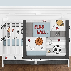 Football Sports Themed Baby Boy Nursery Crib Bedding Set with Bumper by Sweet Jojo Designs - 9 pieces - Red Blue and Grey Baseball Basketball Soccer Patchwork Star