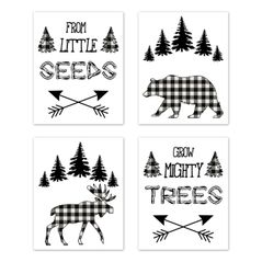 Forest Animals Plaid Wall Art Prints Room Decor for Baby, Nursery, and Kids by Sweet Jojo Designs - Set of 4 - Black and White Buffalo Check Bear Moose Arrow