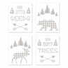 Forest Animals Plaid Wall Art Prints Room Decor for Baby, Nursery, and Kids by Sweet Jojo Designs - Set of 4 - Grey and White Buffalo Check Bear Moose Arrow