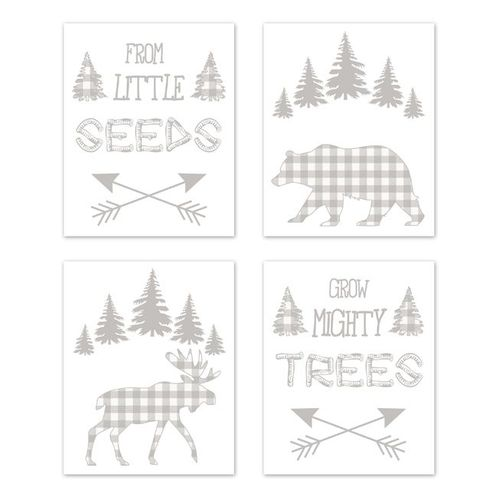 Forest Animals Plaid Wall Art Prints Room Decor for Baby, Nursery, and Kids by Sweet Jojo Designs - Set of 4 - Grey and White Buffalo Check Bear Moose Arrow - Click to enlarge