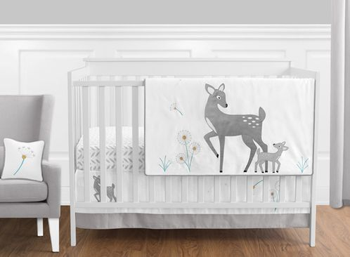 Forest Deer and Dandelion - 11 Piece Crib Bedding Set by Sweet Jojo Designs - Click to enlarge