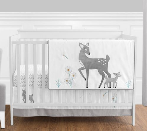 Forest Deer and Dandelion - 4pc Crib Bedding Set by Sweet Jojo Designs - Click to enlarge