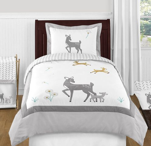 Forest Deer and Dandelion 4pc Twin Bedding Set by Sweet Jojo Designs - Click to enlarge