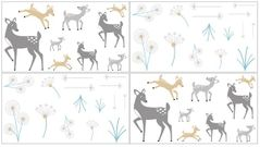 Forest Deer and Dandelion Peel and Stick Wall Decal Stickers Art Nursery Decor by Sweet Jojo Designs - Set of 4 Sheets