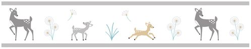 Forest Deer and Dandelion Kids and Baby Modern Wall Paper Border by Sweet Jojo Designs - Click to enlarge