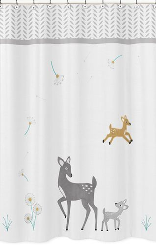 Forest Deer and Dandelion Kids Bathroom Fabric Bath Shower Curtain - Click to enlarge