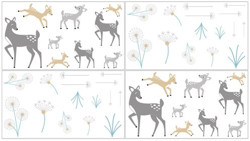 Forest Deer and Dandelion Peel and Stick Wall Decal Stickers Art Nursery Decor by Sweet Jojo Designs - Set of 4 Sheets - Click to enlarge