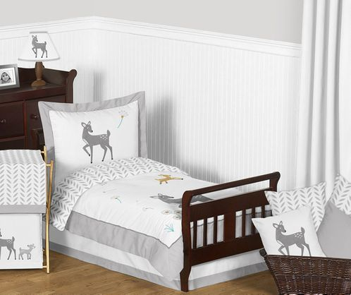 Forest Deer and Dandelion Toddler Bedding - 5pc Set by Sweet Jojo Designs - Click to enlarge